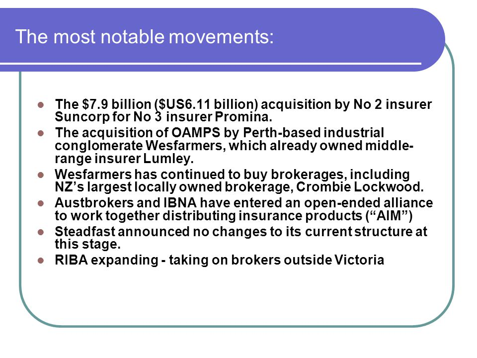 Government Affairs - objectives Promote brokers interests to key stakeholders including ASIC, Treasury and government at all levels Enhance NIBAs profile as peak body representing risk intermediaries To best position members