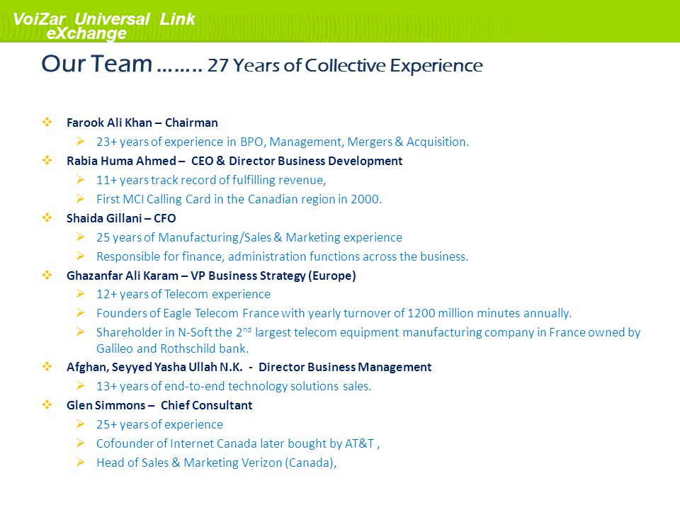 VoiZar Universal Link eXchange Our Team …….. 27 Years of Collective Experience Farook Ali Khan – Chairman 23+ years of experience in BPO, Management,