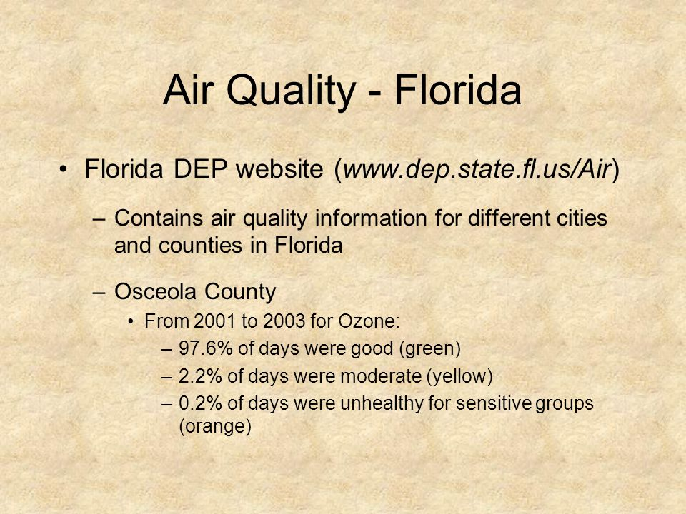 Air Quality - Florida Florida DEP website (www.dep.state.fl.us/Air) –Contains air quality information for different cities and counties in Florida –Os