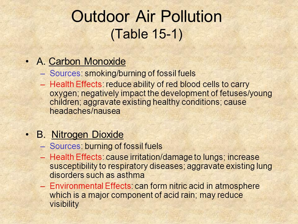 Outdoor Air Pollution (Table 15-1) A. Carbon Monoxide –Sources: smoking/burning of fossil fuels –Health Effects: reduce ability of red blood cells to