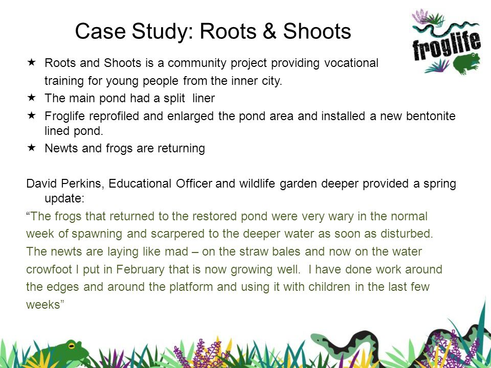 Case Study: Roots & Shoots Roots and Shoots is a community project providing vocational training for young people from the inner city. The main pond h