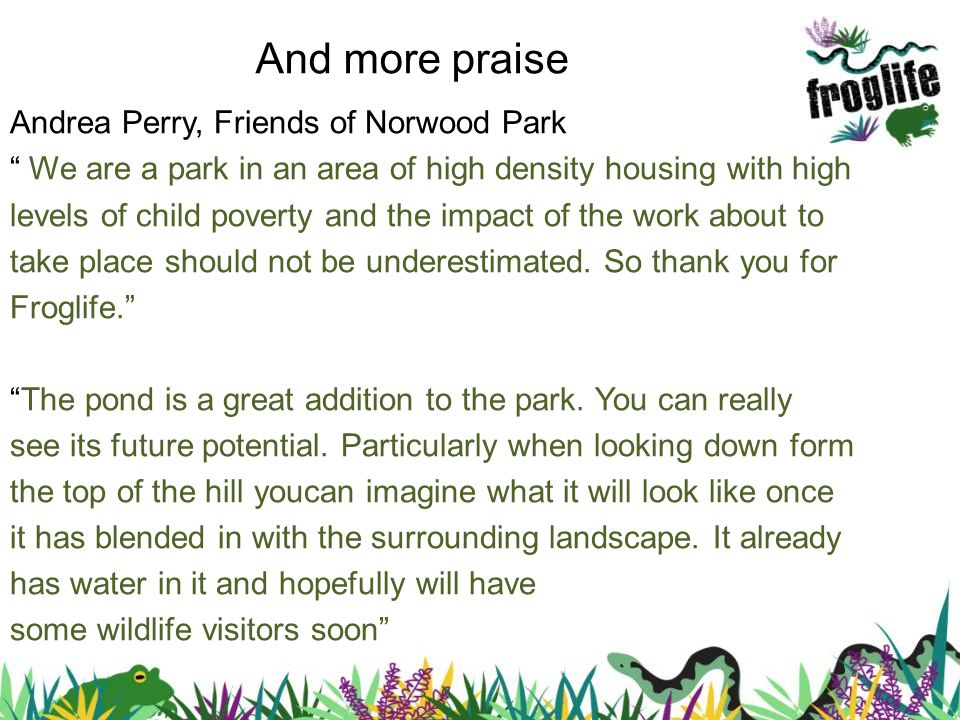 Andrea Perry, Friends of Norwood Park We are a park in an area of high density housing with high levels of child poverty and the impact of the work about to take place should not be underestimated.