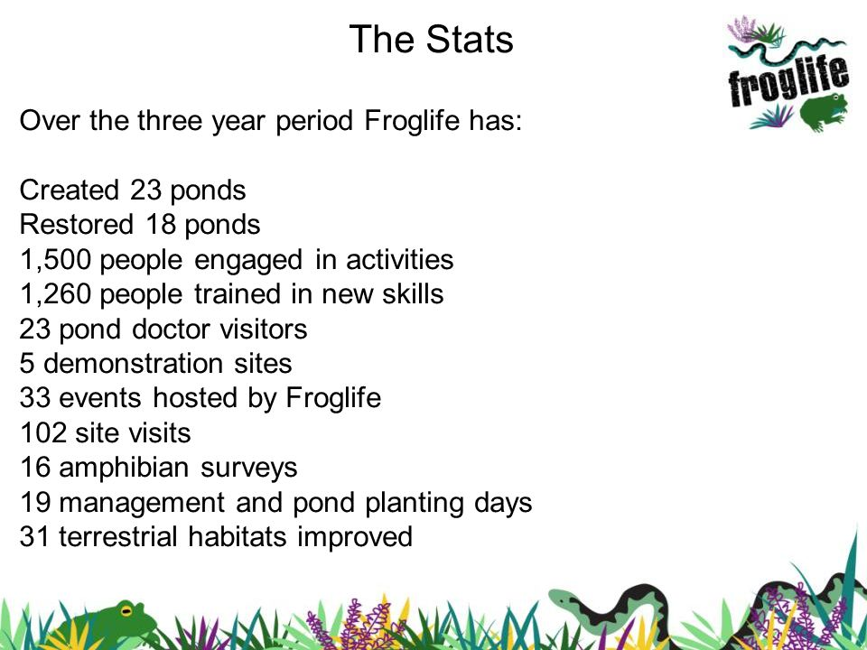 The Stats Over the three year period Froglife has: Created 23 ponds Restored 18 ponds 1,500 people engaged in activities 1,260 people trained in new s