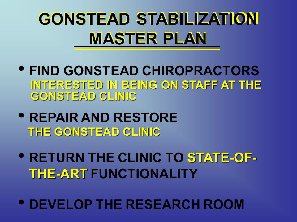 GONSTEAD STABILIZATION MASTER PLAN FIND GONSTEAD CHIROPRACTORS REPAIR AND RESTORE STATE-OF- THE-ART RETURN THE CLINIC TO STATE-OF- THE-ART FUNCTIONALITY GONSTEAD STABILIZATION MASTER PLAN DEVELOP THE RESEARCH ROOM INTERESTED IN BEING ON STAFF AT THE GONSTEAD CLINIC THE GONSTEAD CLINIC