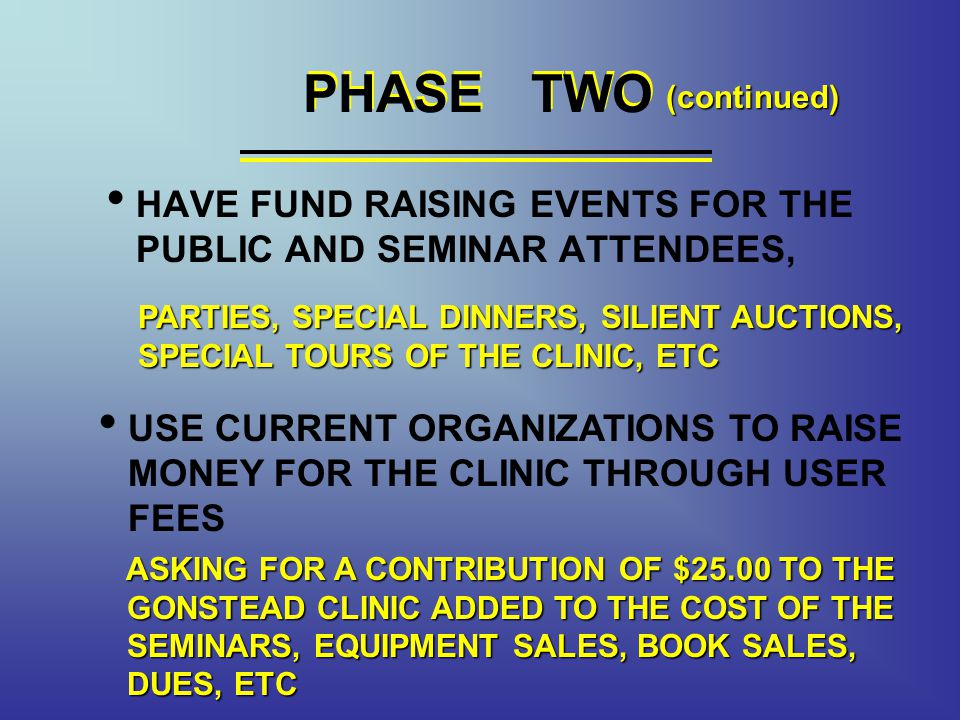 PHASE TWO HAVE FUND RAISING EVENTS FOR THE PUBLIC AND SEMINAR ATTENDEES, PHASE TWO USE CURRENT ORGANIZATIONS TO RAISE MONEY FOR THE CLINIC THROUGH USER FEES PARTIES, SPECIAL DINNERS, SILIENT AUCTIONS, SPECIAL TOURS OF THE CLINIC, ETC ASKING FOR A CONTRIBUTION OF $25.00 TO THE GONSTEAD CLINIC ADDED TO THE COST OF THE SEMINARS, EQUIPMENT SALES, BOOK SALES, DUES, ETC (continued)