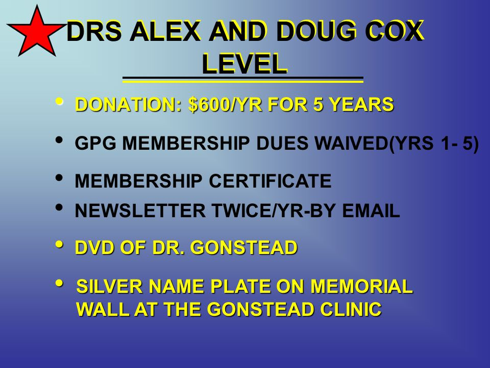 DRS ALEX AND DOUG COX LEVEL DONATION: $600/YR FOR 5 YEARS DONATION: $600/YR FOR 5 YEARS MEMBERSHIP CERTIFICATE NEWSLETTER TWICE/YR-BY EMAIL GPG MEMBERSHIP DUES WAIVED(YRS 1- 5) DVD OF DR.