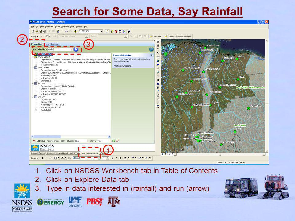 Search for Some Data, Say Rainfall 1.Click on NSDSS Workbench tab in Table of Contents 2.Click on Explore Data tab 3.Type in data interested in (rainfall) and run (arrow) 1 2 3