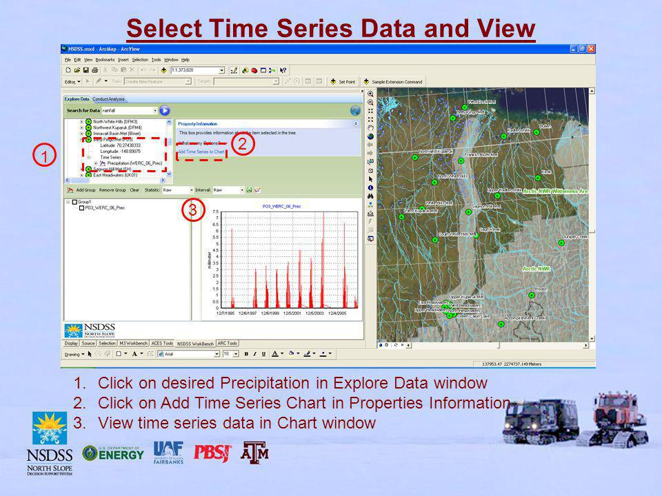 Select Time Series Data and View 1.Click on desired Precipitation in Explore Data window 2.Click on Add Time Series Chart in Properties Information 3.View time series data in Chart window 1 2 3