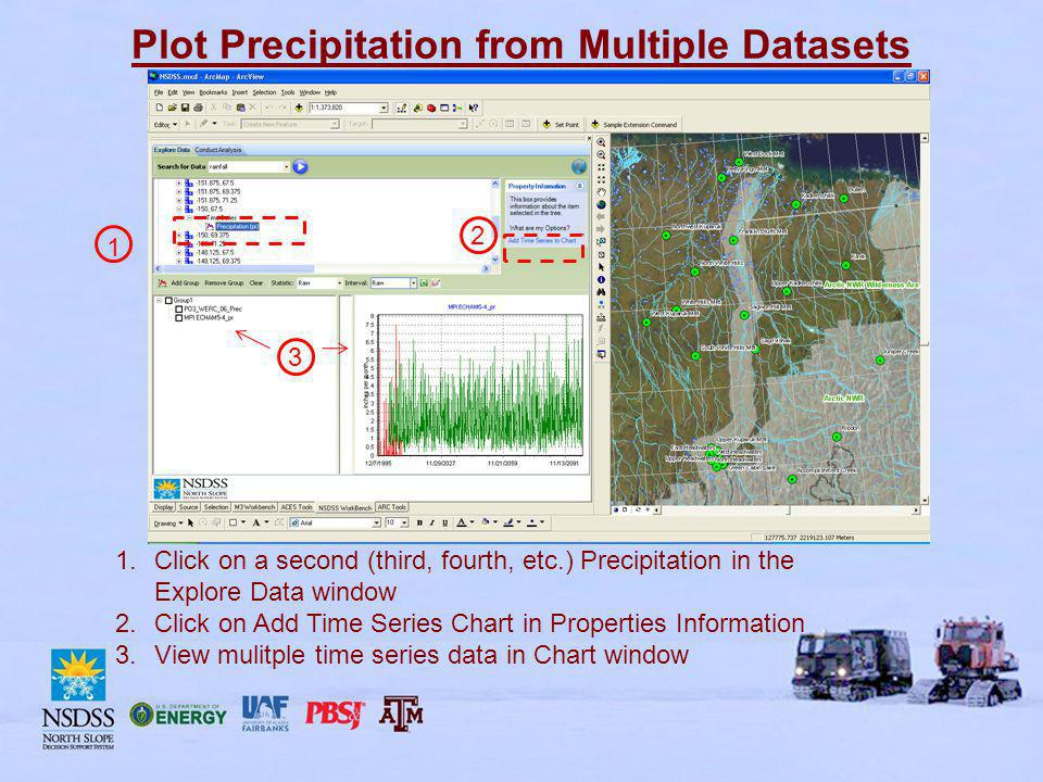 Plot Precipitation from Multiple Datasets 1.Click on a second (third, fourth, etc.) Precipitation in the Explore Data window 2.Click on Add Time Series Chart in Properties Information 3.View mulitple time series data in Chart window 1 2 3