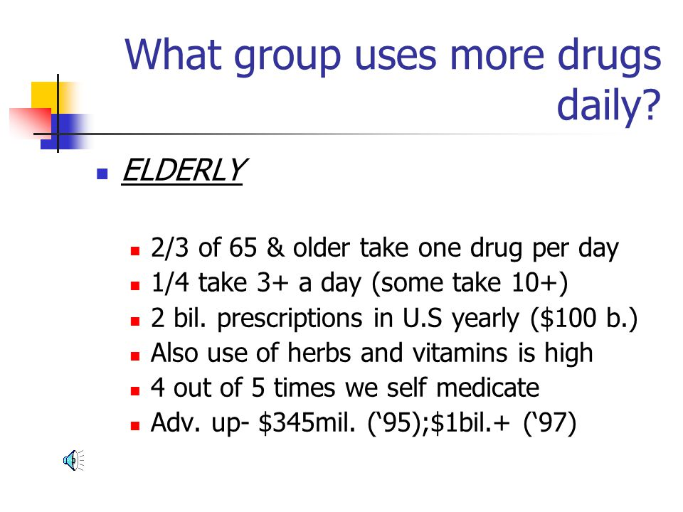 What group uses more drugs daily?