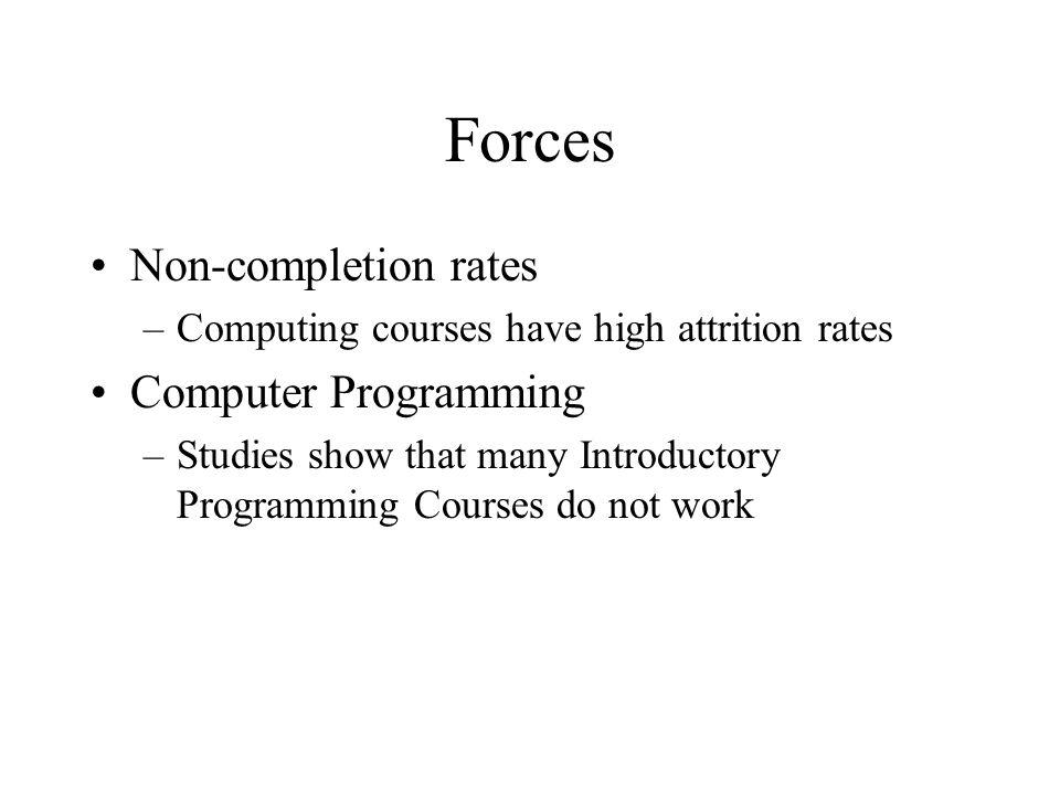 Forces Non-completion rates –Computing courses have high attrition rates Computer Programming –Studies show that many Introductory Programming Courses