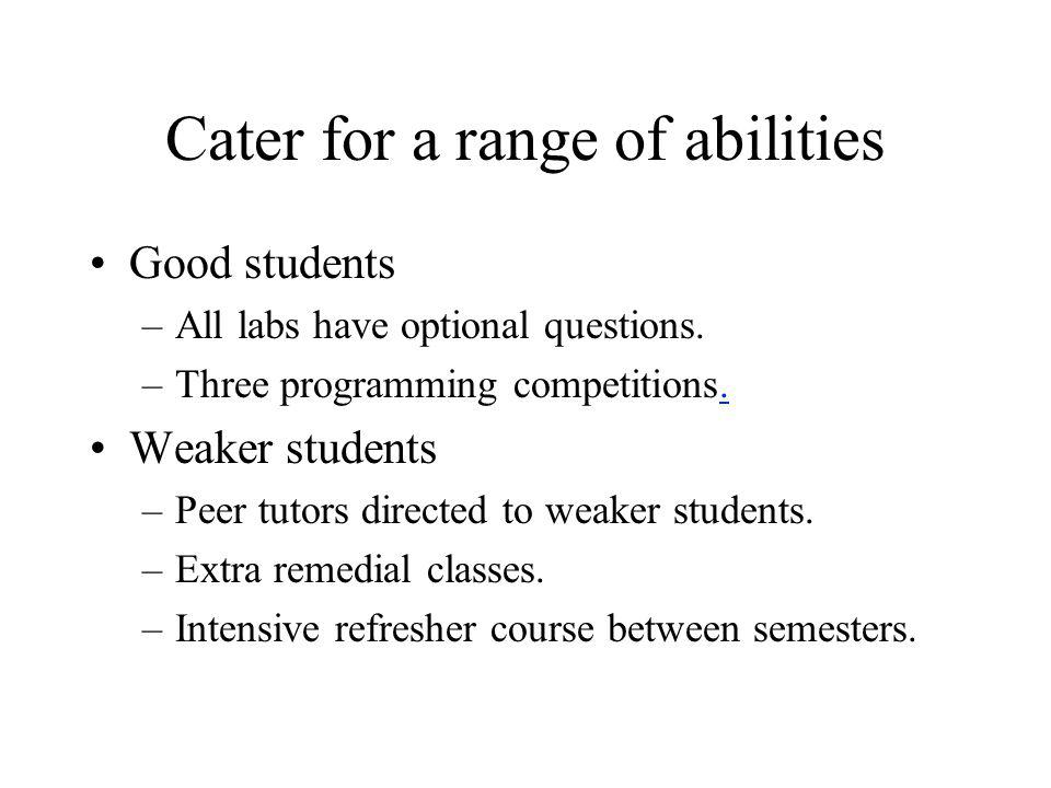 Cater for a range of abilities Good students –All labs have optional questions. –Three programming competitions.. Weaker students –Peer tutors directe
