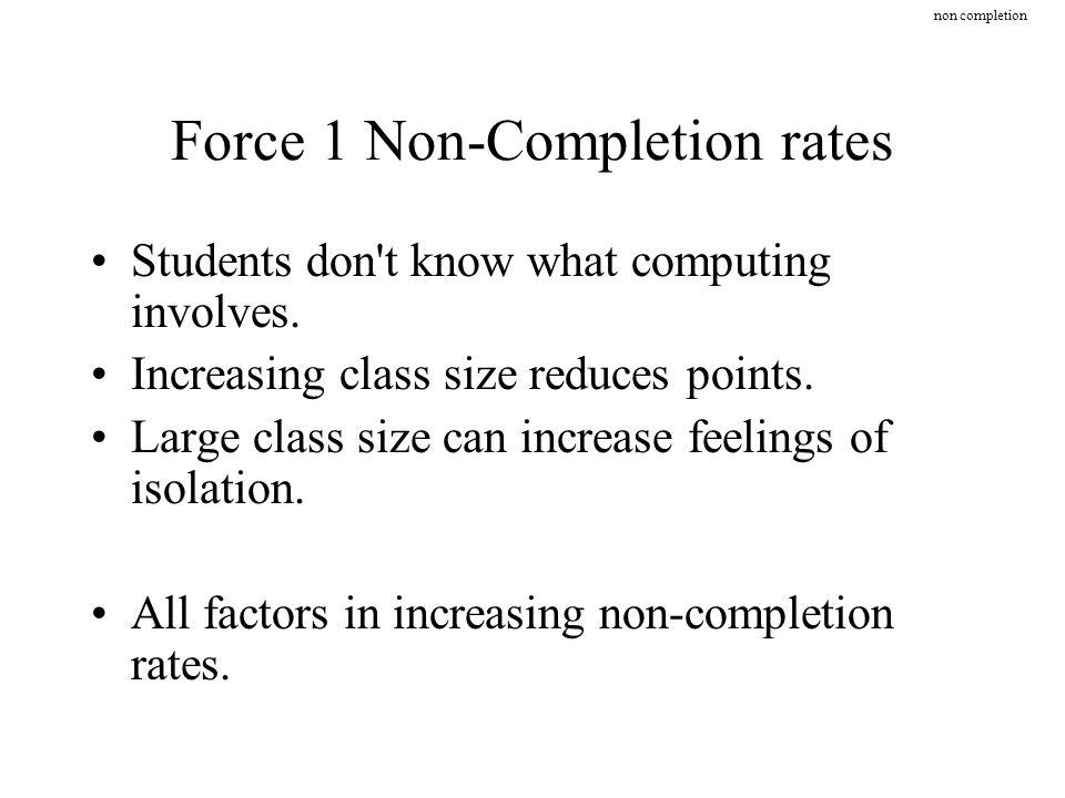 Force 1 Non-Completion rates Students don t know what computing involves.