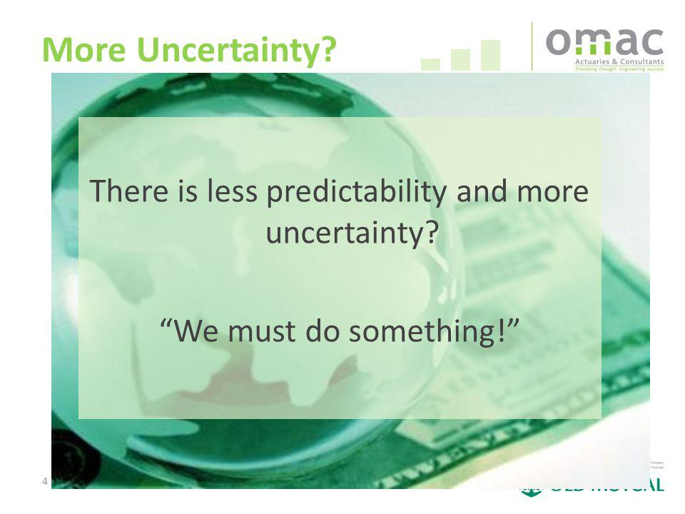 4 More Uncertainty There is less predictability and more uncertainty We must do something!