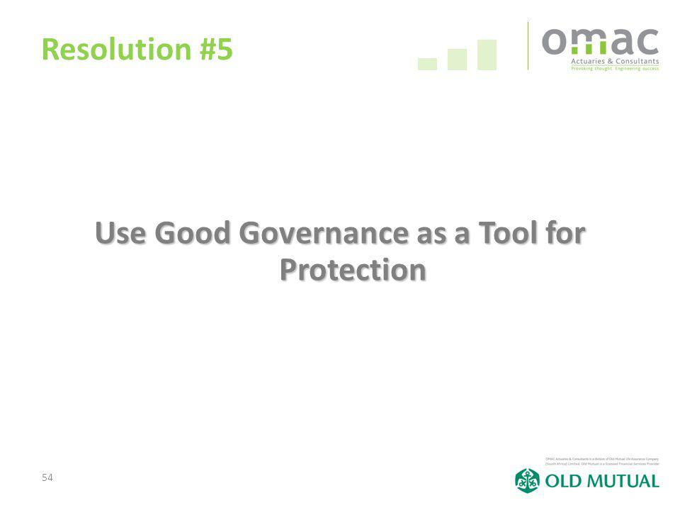 54 Resolution #5 Use Good Governance as a Tool for Protection