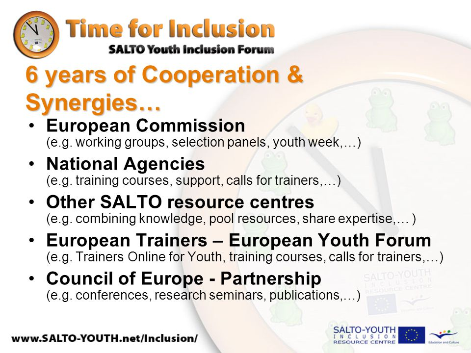 6 years of Cooperation & Synergies… European Commission (e.g. working groups, selection panels, youth week,…) National Agencies (e.g. training courses