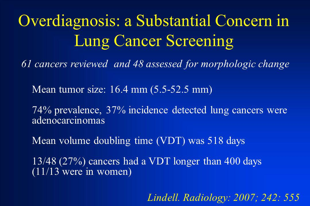 Overdiagnosis: a Substantial Concern in Lung Cancer Screening Lindell. Radiology: 2007; 242: 555 61 cancers reviewed and 48 assessed for morphologic c