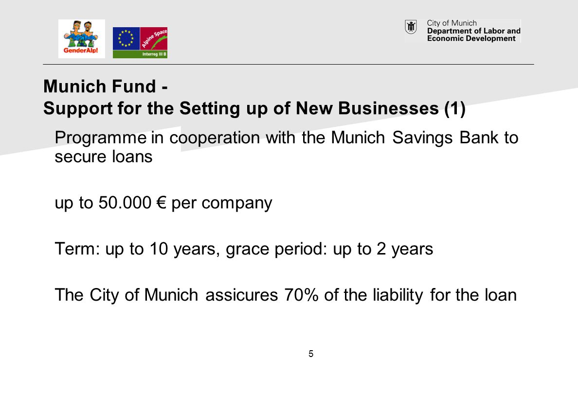5 Munich Fund - Support for the Setting up of New Businesses (1) Programme in cooperation with the Munich Savings Bank to secure loans up to 50.000 pe