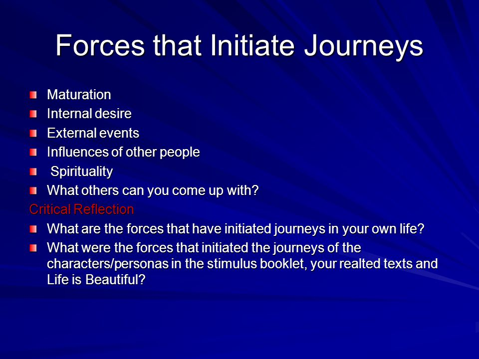 Forces that Initiate Journeys Maturation Internal desire External events Influences of other people Spirituality Spirituality What others can you come