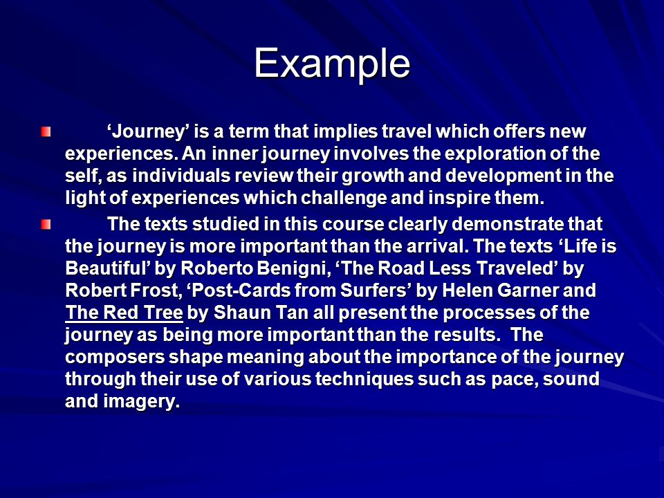 Example Journey is a term that implies travel which offers new experiences. An inner journey involves the exploration of the self, as individuals revi