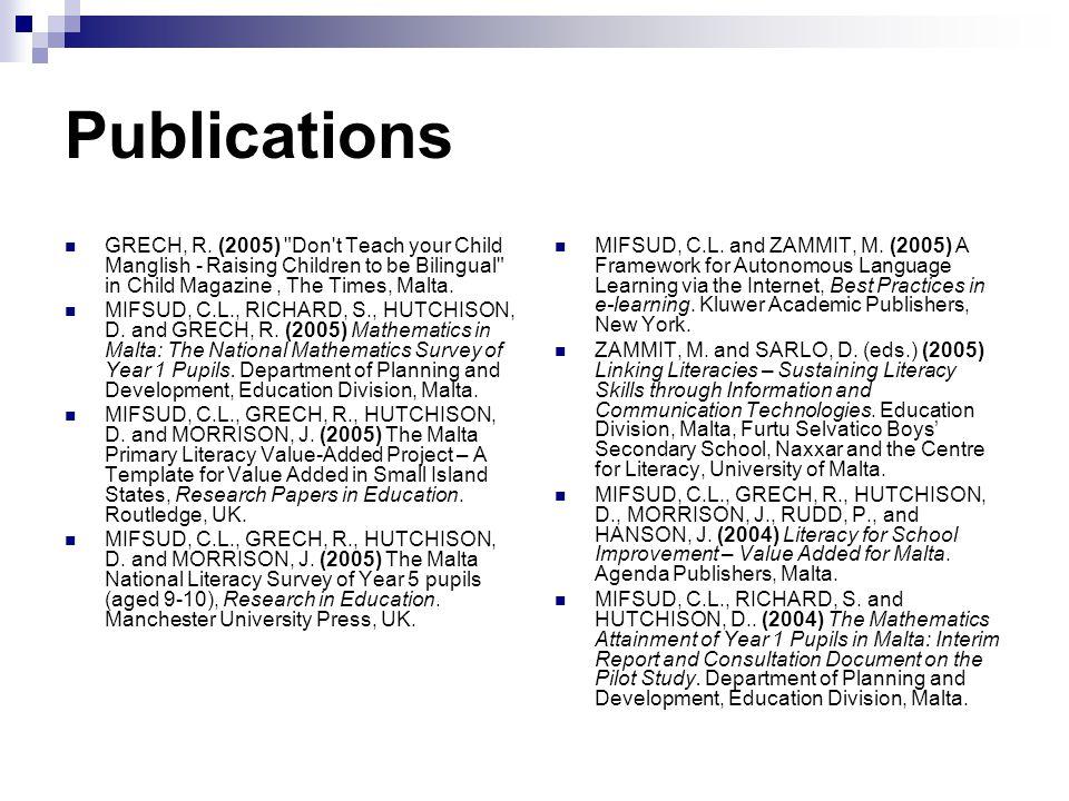 Publications GRECH, R.