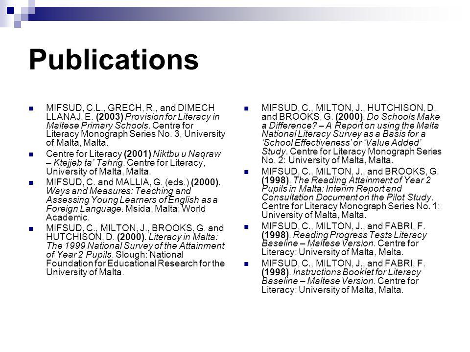 Publications MIFSUD, C.L., GRECH, R., and DIMECH LLANAJ, E.