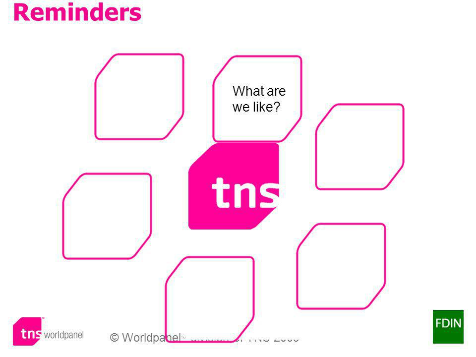 © Worldpanel TM division of TNS 2009 Reminders What are we like?