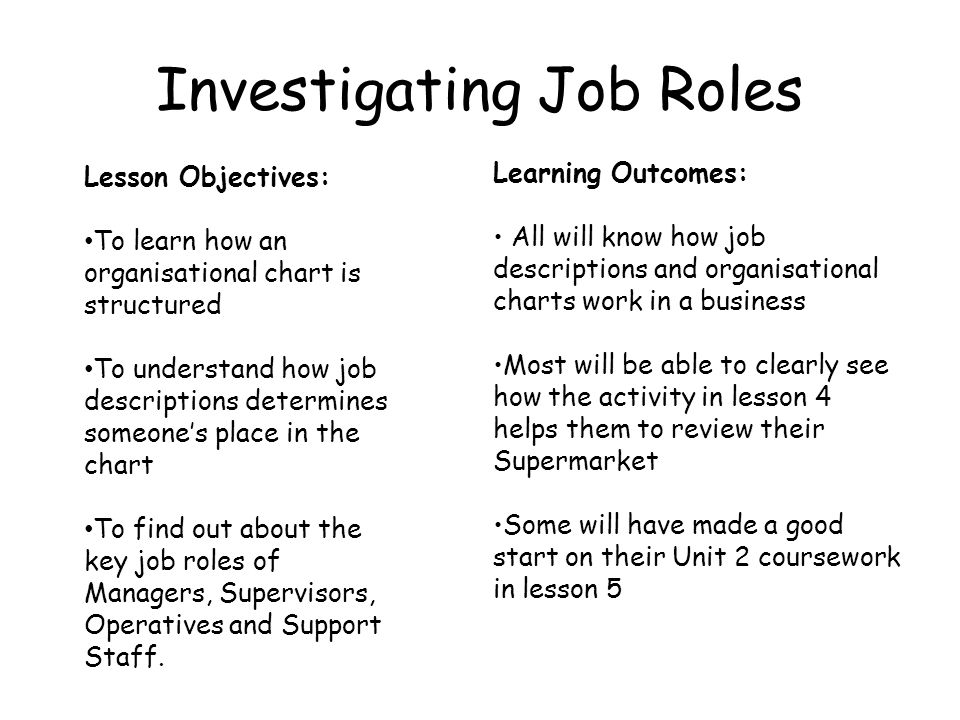 Investigating Job Roles Lesson Objectives: To learn how an organisational chart is structured To understand how job descriptions determines someones p