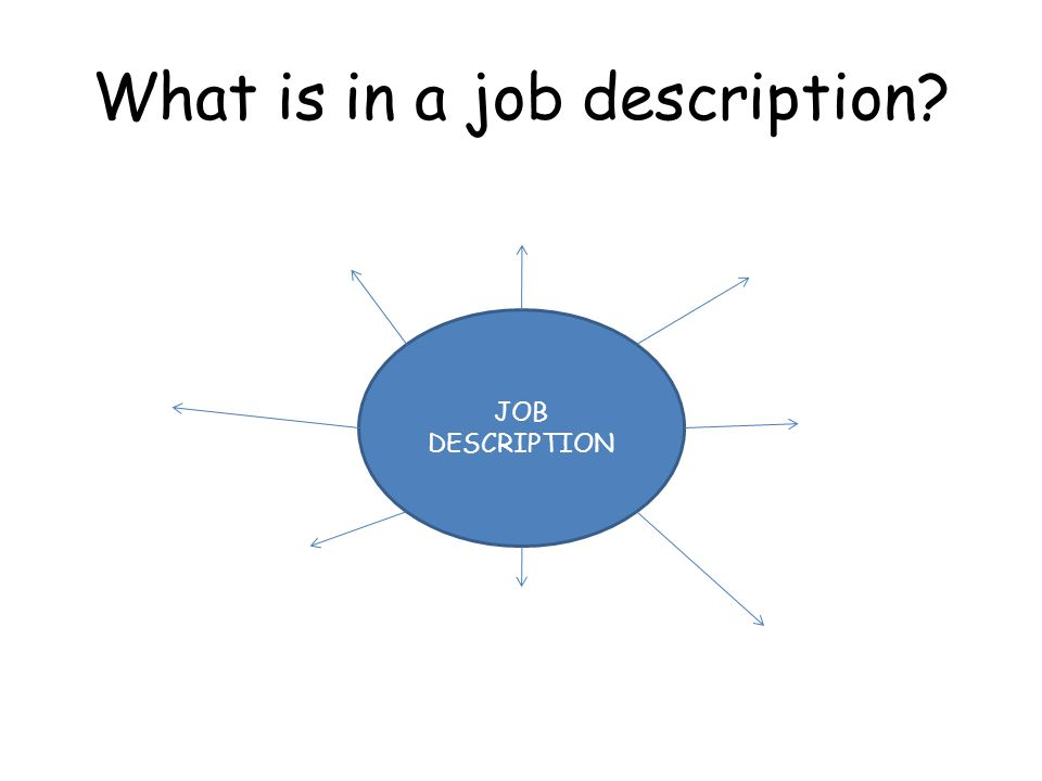 What is in a job description JOB DESCRIPTION
