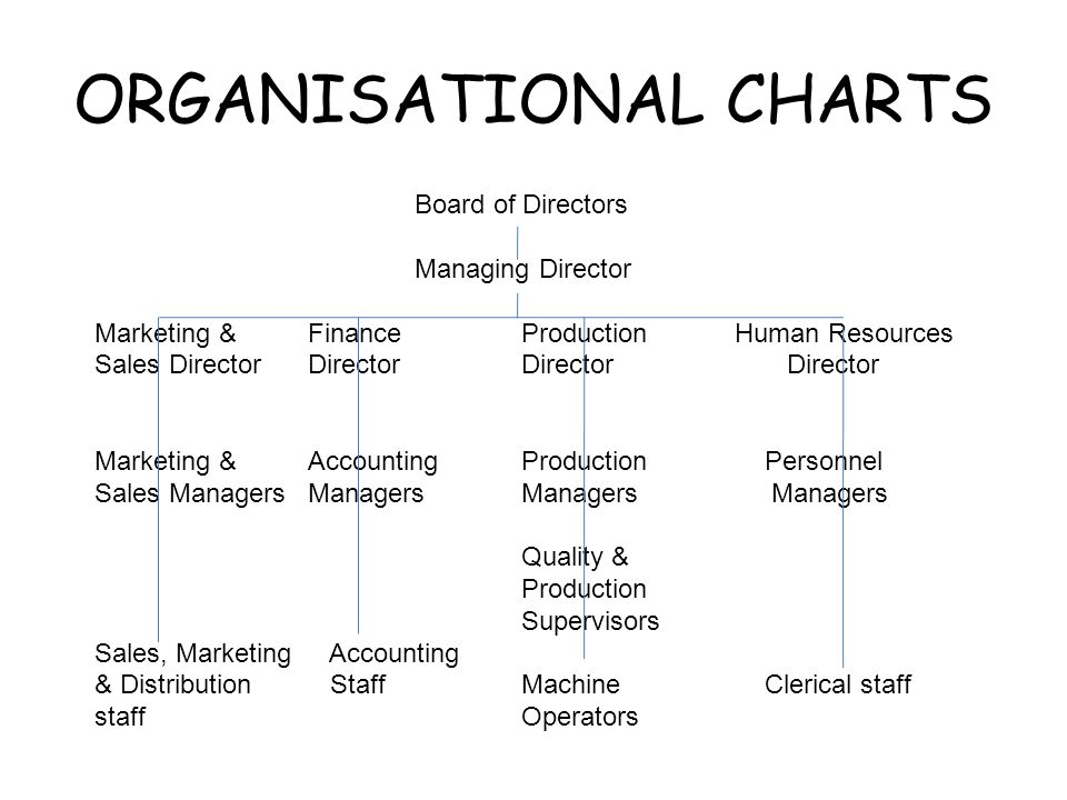 ORGANISATIONAL CHARTS Board of Directors Managing Director Marketing & FinanceProductionHuman Resources Sales DirectorDirectorDirector Director Marketing &Accounting Production Personnel Sales ManagersManagersManagers Managers Quality & Production Supervisors Sales, Marketing Accounting & Distribution StaffMachine Clerical staff staffOperators