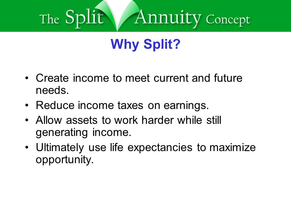 Why Split. Create income to meet current and future needs.