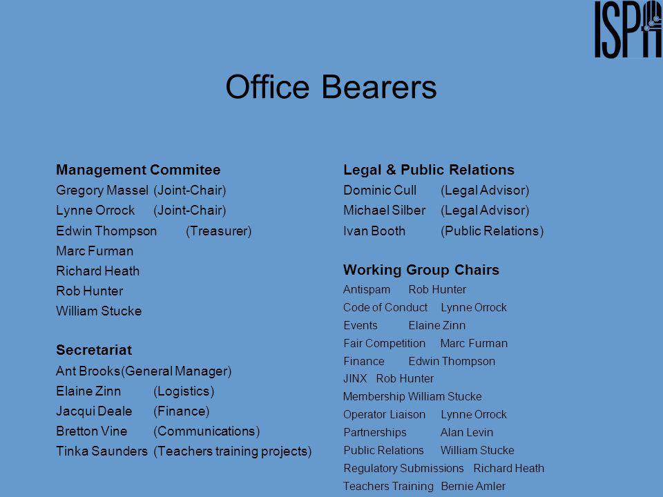 Office Bearers Management Commitee Gregory Massel(Joint-Chair) Lynne Orrock (Joint-Chair) Edwin Thompson (Treasurer) Marc Furman Richard Heath Rob Hun