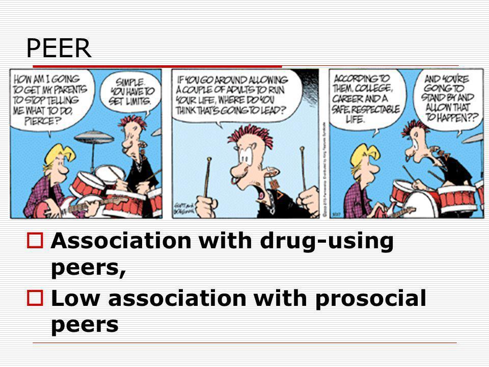 PEER Association with drug-using peers, Low association with prosocial peers