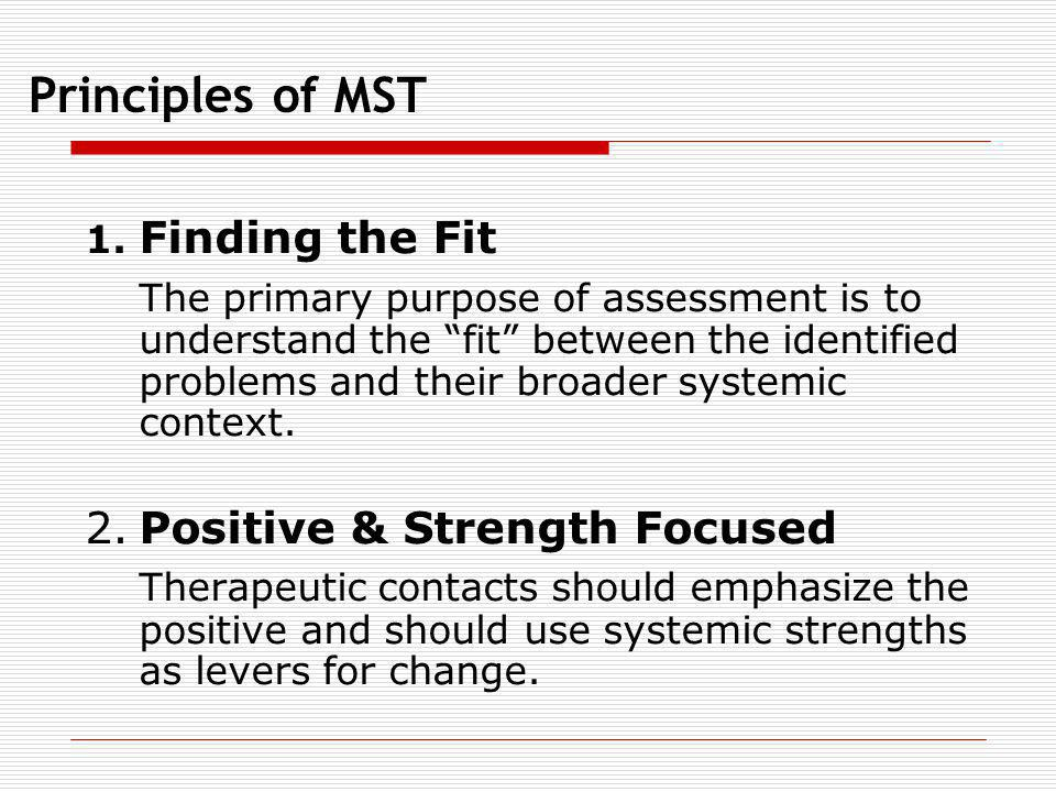 Principles of MST 1. Finding the Fit The primary purpose of assessment is to understand the fit between the identified problems and their broader syst