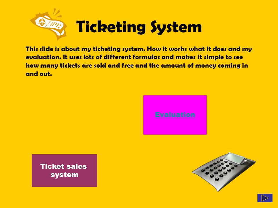 Ticketing System This slide is about my ticketing system. How it works what it does and my evaluation. It uses lots of different formulas and makes it