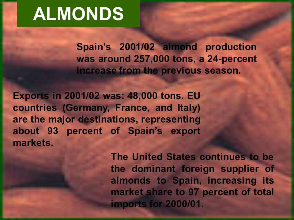 ALMONDS Spains 2001/02 almond production was around 257,000 tons, a 24-percent increase from the previous season.