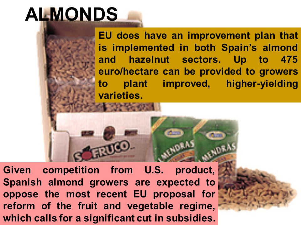 ALMONDS EU does have an improvement plan that is implemented in both Spains almond and hazelnut sectors.