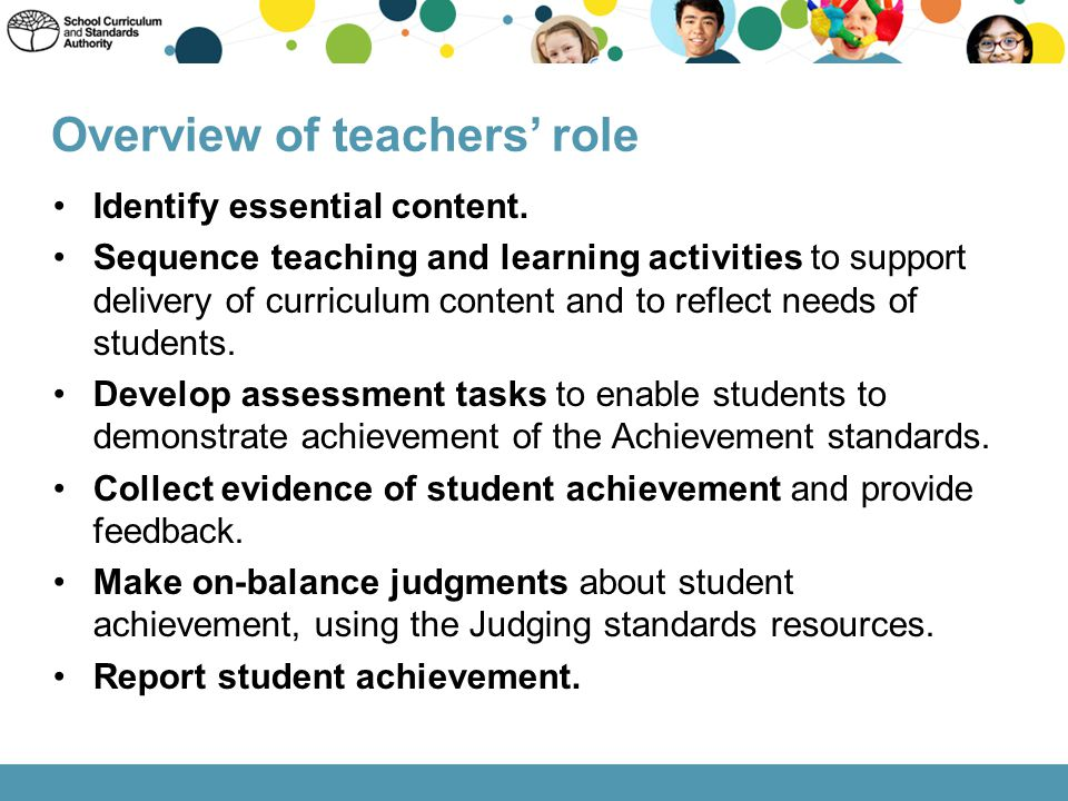 Identify essential content. Sequence teaching and learning activities to support delivery of curriculum content and to reflect needs of students. Deve