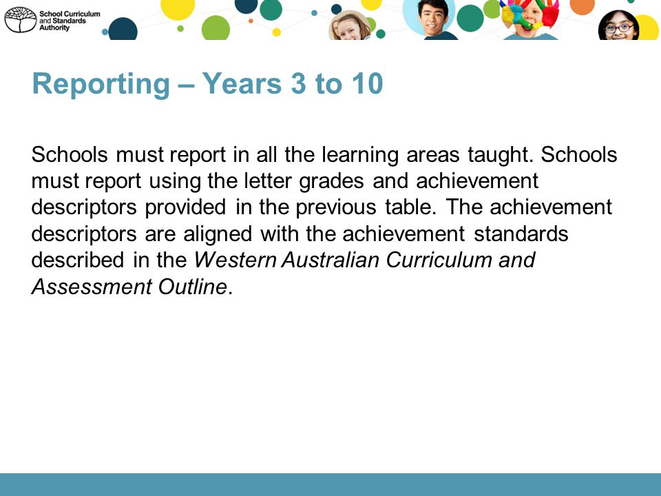 Schools must report in all the learning areas taught. Schools must report using the letter grades and achievement descriptors provided in the previous