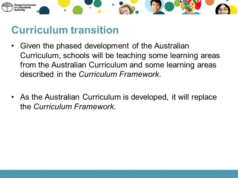 Given the phased development of the Australian Curriculum, schools will be teaching some learning areas from the Australian Curriculum and some learni