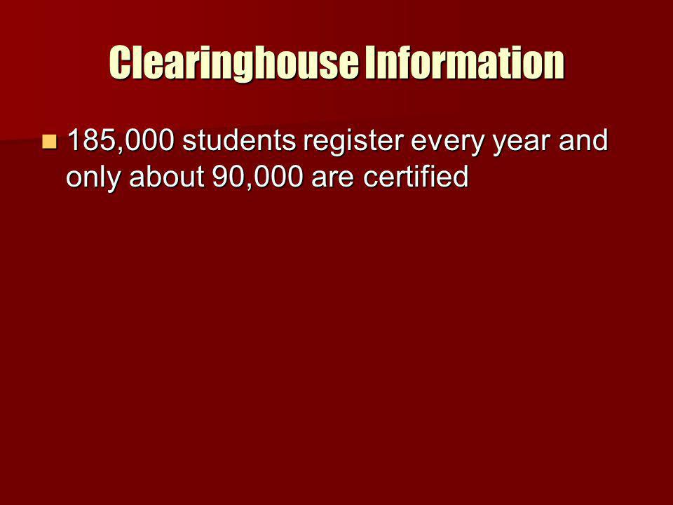 Clearinghouse Information 185,000 students register every year and only about 90,000 are certified 185,000 students register every year and only about 90,000 are certified