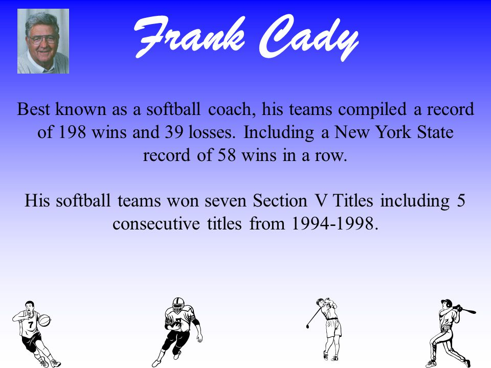 Frank Cady Best known as a softball coach, his teams compiled a record of 198 wins and 39 losses.