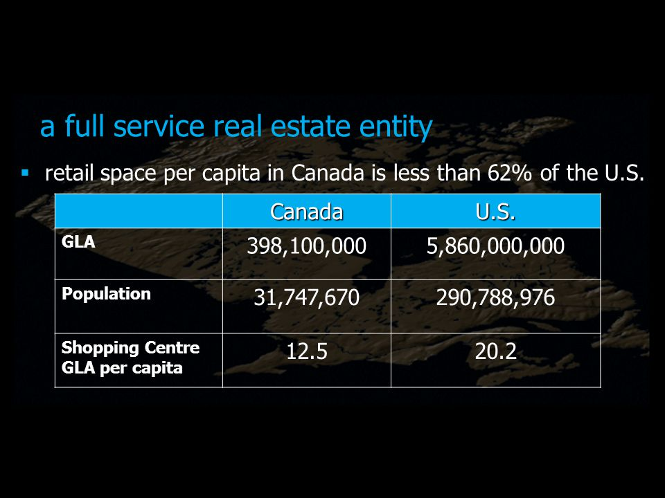 a full service real estate entity retail space per capita in Canada is less than 62% of the U.S.