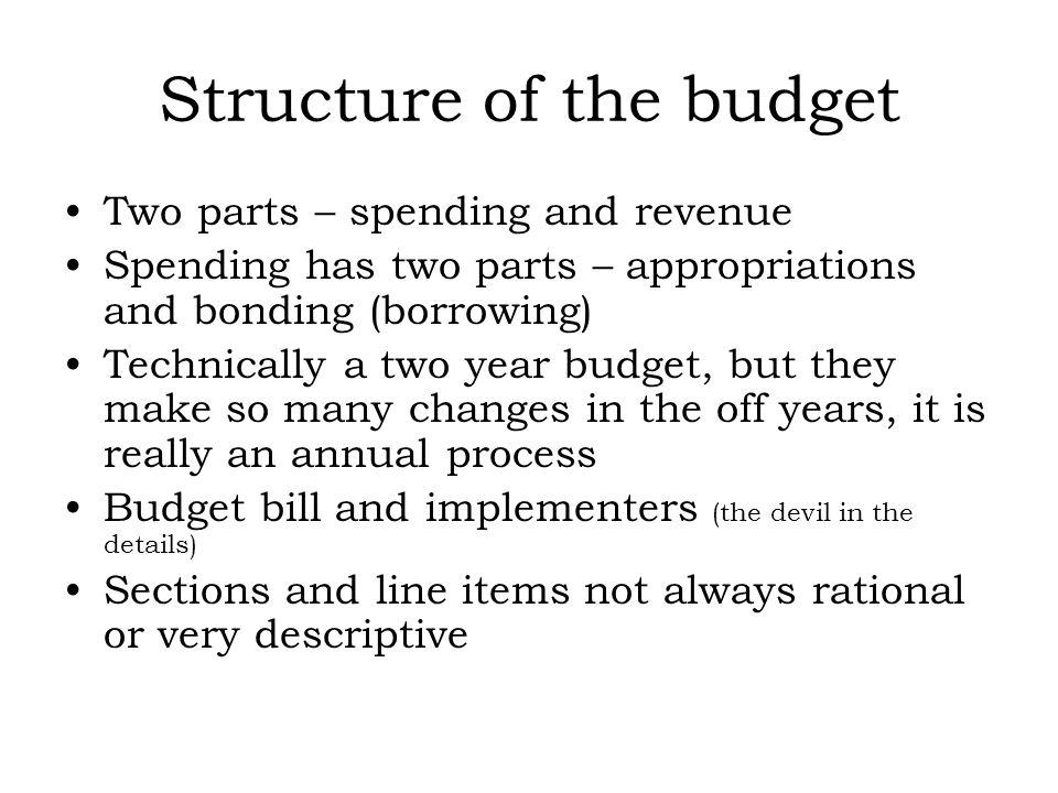 Structure of the budget Two parts – spending and revenue Spending has two parts – appropriations and bonding (borrowing) Technically a two year budget, but they make so many changes in the off years, it is really an annual process Budget bill and implementers (the devil in the details) Sections and line items not always rational or very descriptive