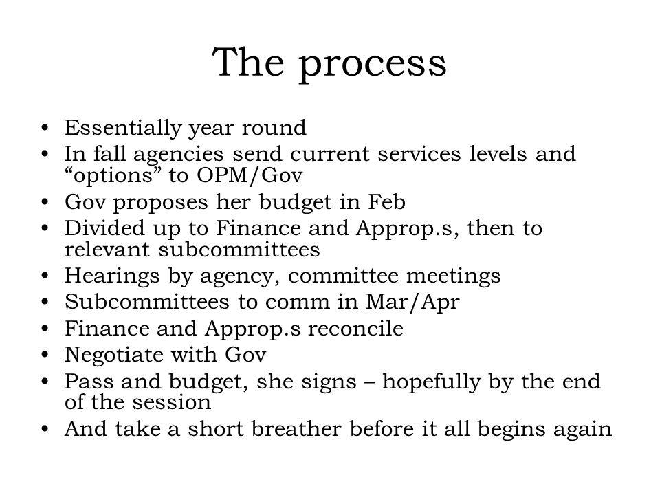 The process Essentially year round In fall agencies send current services levels and options to OPM/Gov Gov proposes her budget in Feb Divided up to Finance and Approp.s, then to relevant subcommittees Hearings by agency, committee meetings Subcommittees to comm in Mar/Apr Finance and Approp.s reconcile Negotiate with Gov Pass and budget, she signs – hopefully by the end of the session And take a short breather before it all begins again