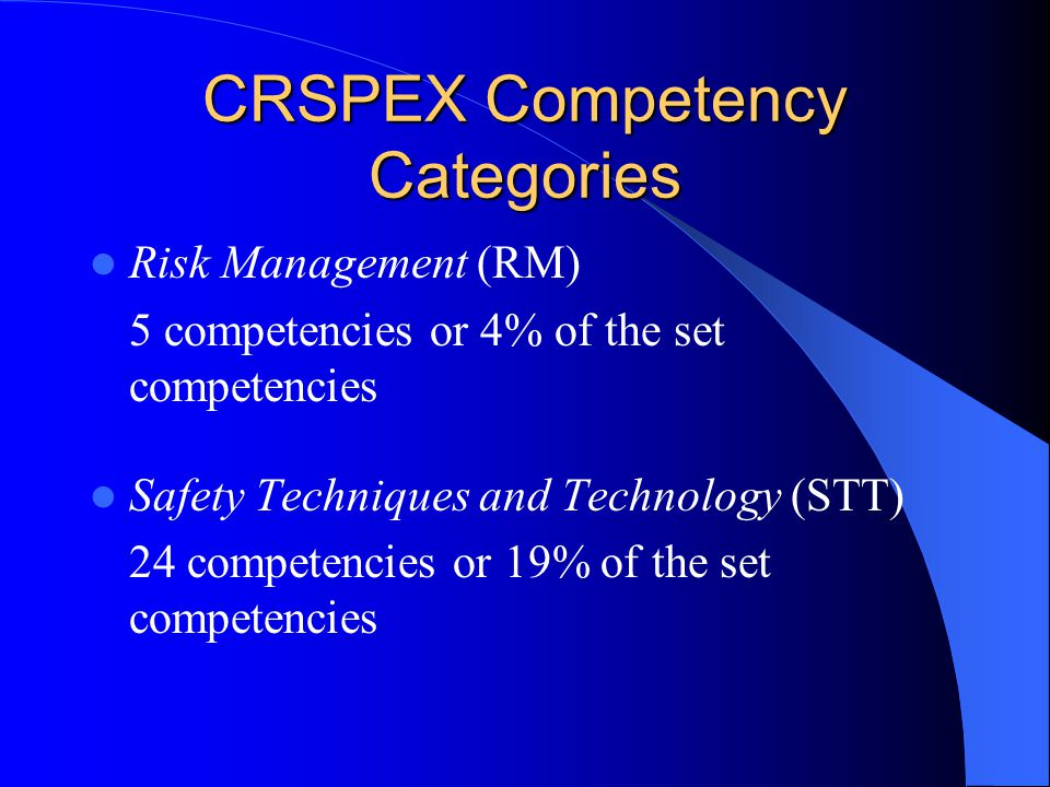 CRSPEX Competency Categories Risk Management (RM) 5 competencies or 4% of the set competencies Safety Techniques and Technology (STT) 24 competencies or 19% of the set competencies