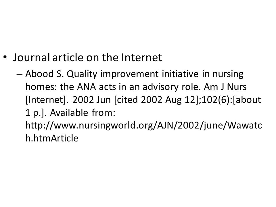 Journal article on the Internet – Abood S.