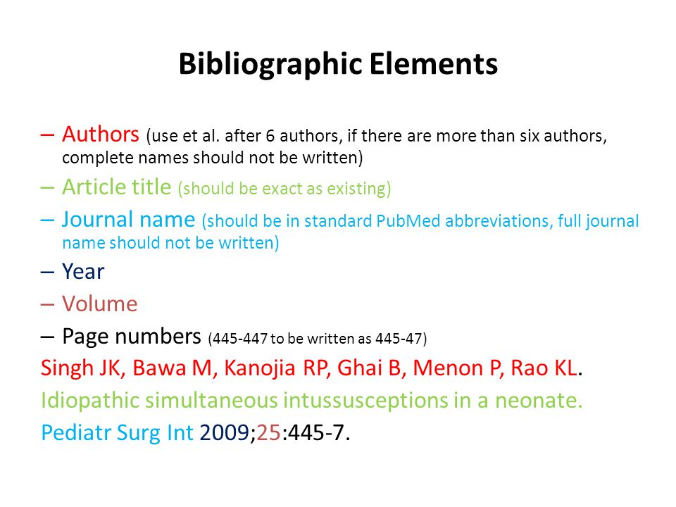 Bibliographic Elements – Authors (use et al.