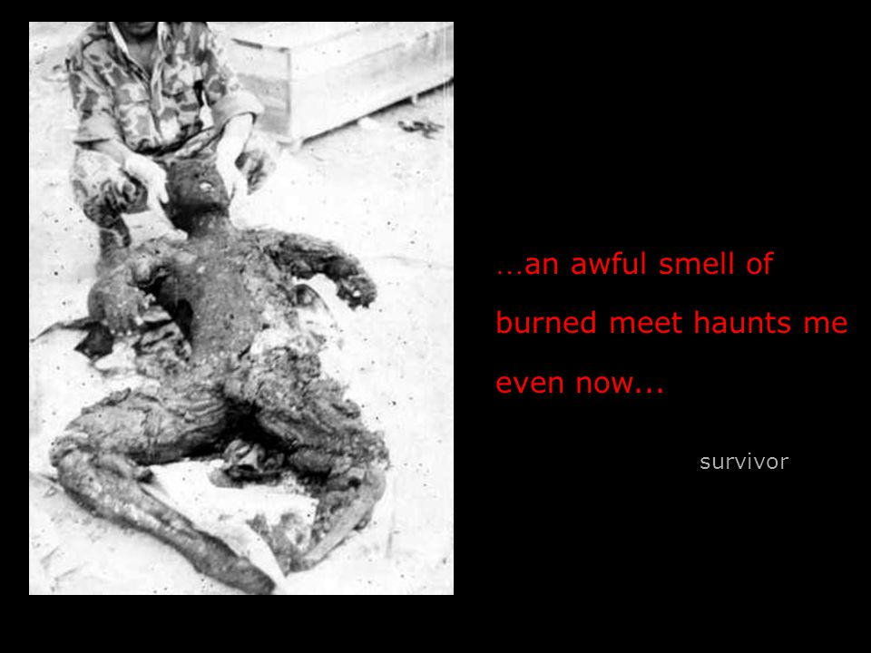 … an awful smell of burned meet haunts me even now... survivor