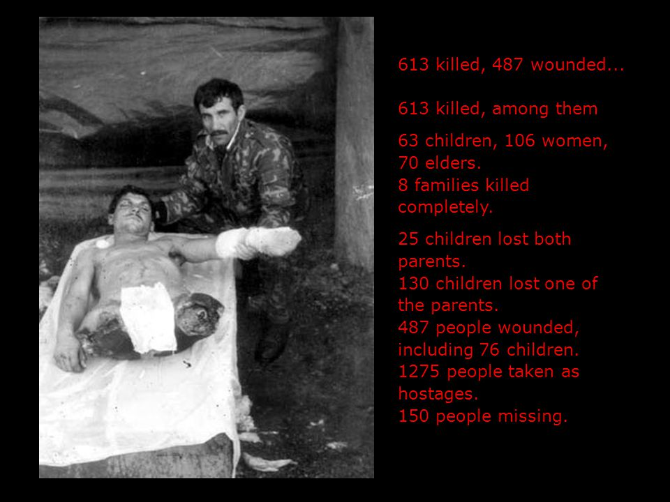 613 killed, 487 wounded... 613 killed, among them 63 children, 106 women, 70 elders.
